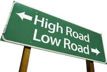 High road Low road sign